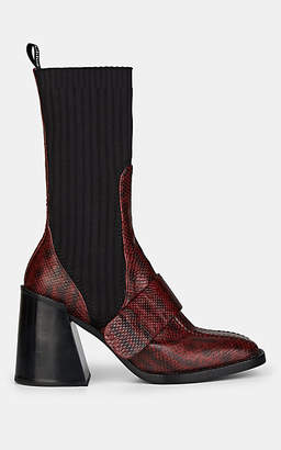 Chloé Women's Bea Stamped Leather Mid-Calf Boots - Red