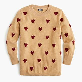 J.Crew Everyday cashmere crewneck sweater with intarsia-knit hearts