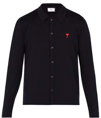Ami - Logo Embroidered Merino Wool Cardigan - Mens - Navy