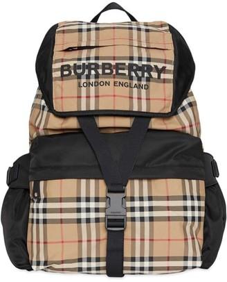 Burberry Logo Print Vintage Check Backpack
