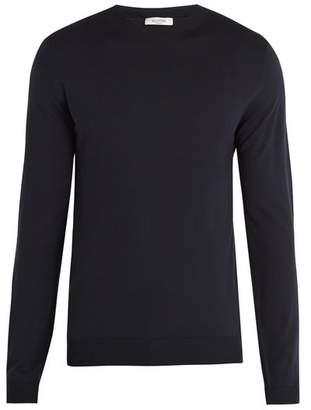 Valentino Crew Neck Wool Sweater - Mens - Navy