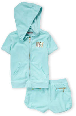 Juicy Couture Girls 4-6x) Two-Piece Terry Hoodie & Shorts Set