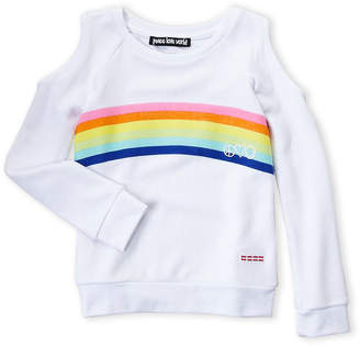 Peace Love World Girls 4-6x) Cold Shoulder Rainbow Pullover
