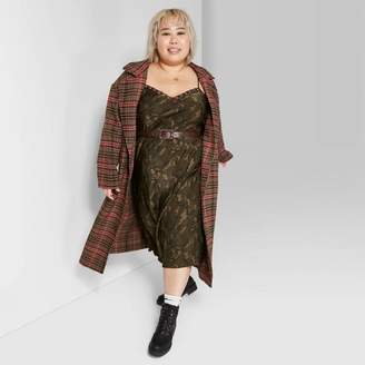 Wild Fable Women's Plus Size Plaid Oversized Button-Front Long Sleeve Wool Coat - Wild FableTM Brown/Pink