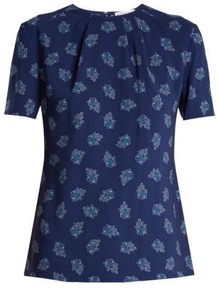 Altuzarra Devan Floral Print Stretch Faille Top - Womens - Blue Print