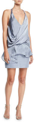 MISA Los Angeles Mirka Halter Draped Satin Cocktail Dress