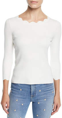 Milly Scalloped-Neck 3/4-Sleeve Pullover