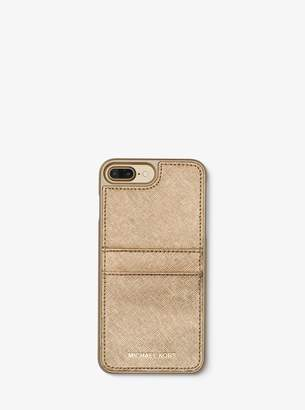MICHAEL Michael Kors Metallic Saffiano Leather Phone Case For iPhone7/8 Plus