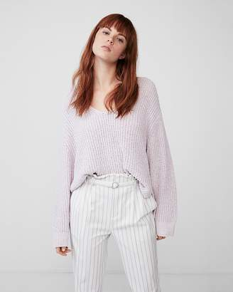 Express Oversized Shaker V-Neck Sweater