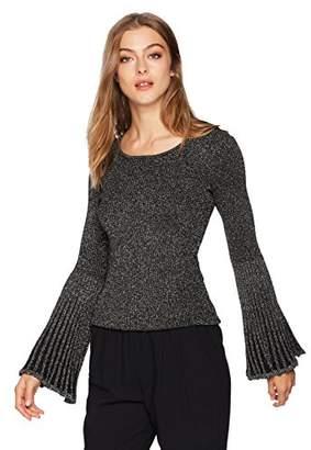Milly Women's Metallic Rib Flare Sleeve Sweater
