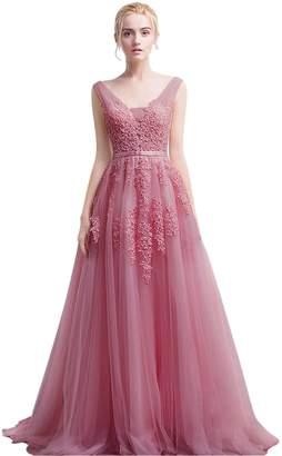 Babyonlinedress Sexy V-Neck See-through Floral Lace Dress Sleeveless Maxi Dress (Pink,)