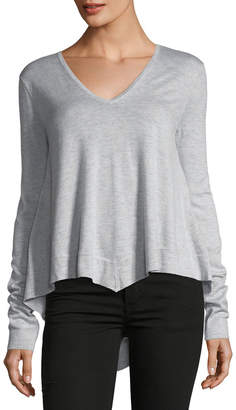 Derek Lam 10 Crosby V-Neck Long-Sleeve Wool-Blend Pullover Top