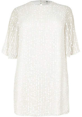 River Island Plus white sequin swing dress