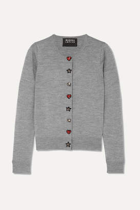 Markus Lupfer April Embellished Merino Wool Cardigan - Gray