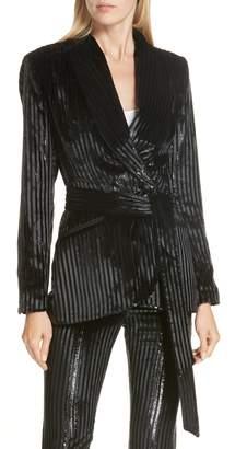 Smythe Velvet Stripe Tie Waist Blazer