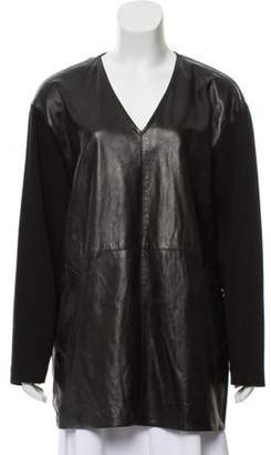 Michael Kors Leather And Wool Oversize Tunic Black Leather And Wool Oversize Tunic