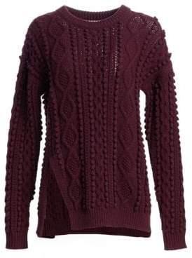 3.1 Phillip Lim Popcorn Cable-Knit Split Wool Sweater