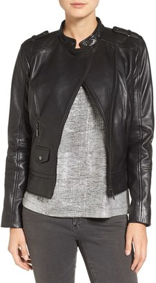 Women's Bernardo Slim Fit Leather Moto Jacket $450 thestylecure.com