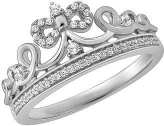 ENCHANTED FINE JEWELRY BY DISNEY Enchanted Disney Fine Jewelry 1/6 C.T. T.W. Diamond Sterling Silver Snow White Crown with Bow Ring