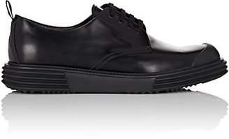 Prada Men's Wedge-Sole Leather Bluchers - Black