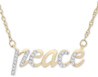 """Wrapped Diamond Peace 17"""" Pendant Necklace (1/10 ct. t.w.) in 14k Gold"""