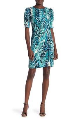 Amelia Short Sleeve Drawstring Ruched Print Dress