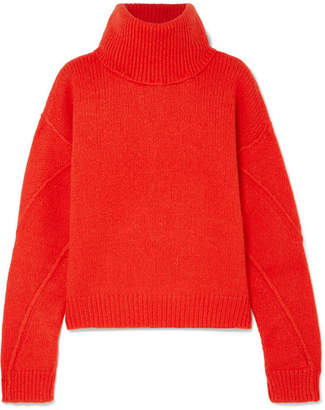 Tory Burch Eva Convertible Oversized Wool-blend Turtleneck Sweater - Bright orange