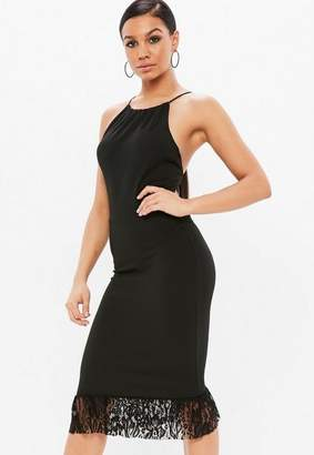 Missguided Black Scuba 90s Neck Lace Frill Midi Dress