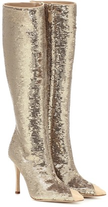 Alessandra Rich Sequined leather-trimmed boots