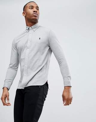 Polo Ralph Lauren Slim Fit Pique Shirt Player Logo Button-Down In Grey Marl