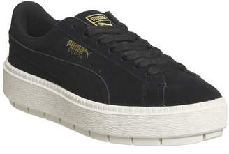 Puma Suede Platform Trace Trainers Black White