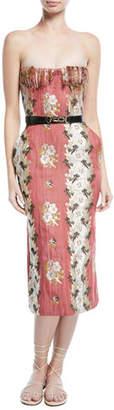 Brock Collection Delfina Strapless Shredded Bustier Floral-Jacquard Dress