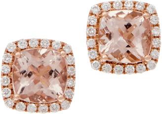 Cushion Morganite and Diamond Stud Earrings, 14K, 2.50 cttw