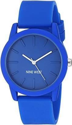 Nine West Women's NW/2139BLBL Silicone Strap Watch