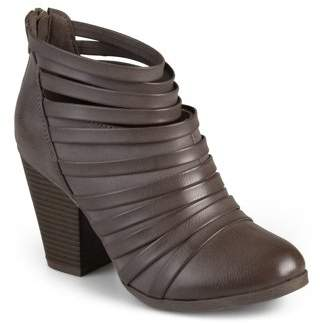 Brinley Co. Womens Strappy Faux Leather Chunky Heel Booties