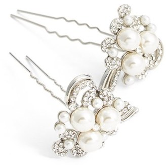 Nina Pearly Crystal Hairpins $68 thestylecure.com
