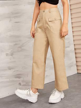 Shein Solid Flap Pocket Front Wide Leg Cargo Pants