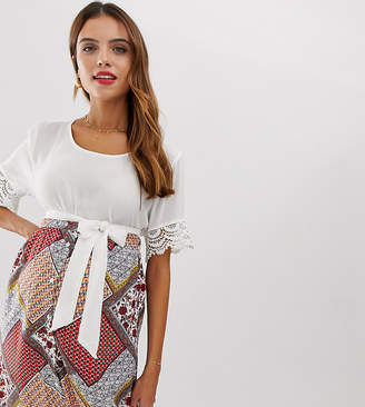 Mama Licious Mama.Licious Mamalicious maternity lace cuff textured t-shirt