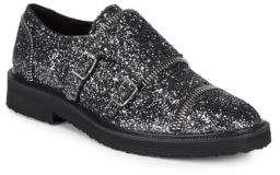 Giuseppe Zanotti Crystallized Mock Strap Leather Oxfords