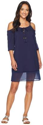 Tommy Bahama Cotton Modal Cold-Shoulder Dress Cover-Up Women's Swimwear