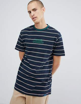 Pull&Bear Striped T-Shirt With Embroidery In Navy