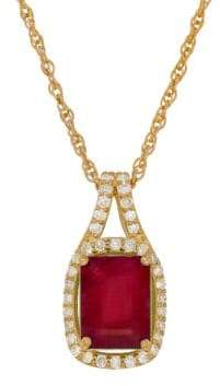 Lord & Taylor Diamond, Ruby & 14K Yellow Gold Pendant Necklace