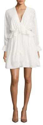 Belle Badgley Mischka Long Sleeved Ruffle and Eyelet Dress $259 thestylecure.com