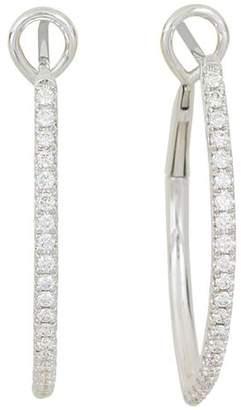 Frederic Sage 18K White Gold Marquise Pavé Diamond Hoop Earrings