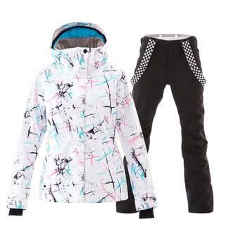 eb162db617 GS SNOWING Women s Ski Jackets and Pants Set Windproof Waterproof Snowsuit  XL
