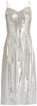 HVN Sleeveless lamé slip dress