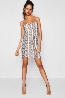 boohoo Tall Louise Square Neck Snake Print Mini Dress