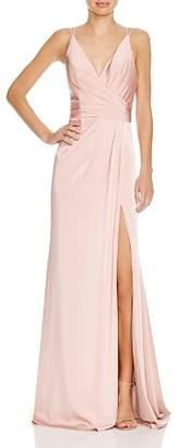 Couture Faviana Faille Satin Draped Gown