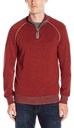 Agave Men's Lundy Banded 100% Cotton Fine Gauge Half Zip Sweater