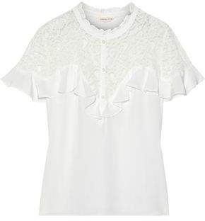 Rebecca Taylor Corded Lace-paneled Ruffled Silk Crepe De Chine Blouse